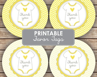 Thank You Onesis Baby Shower Party Decorations - Neutral Baby Shower Favor / Tags Cupcake Toppers  - Party Labels - INSTANT DOWNLOAD