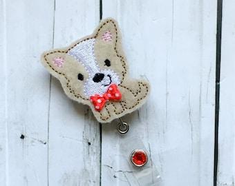 Cute Boy Scottish Terrier Scotty Puppy Dog w/ Bow Nurse Name Badge Holder Felt Badge Reel - Retractable ID Holder - Lanyard RN