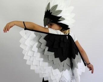 Monochrome Bird Wings Costume Kids Halloween Childrens Dressup