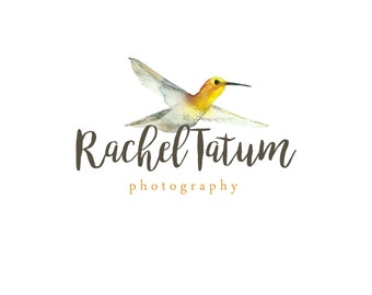 "INSTANT DOWNLOAD Custom Premade Photography Logo and Watermark ""Yellow Hummingbird"" - Fully Custom Font and Color"