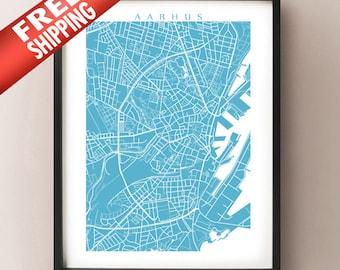 Aarhus Map Print - Denmark Poster