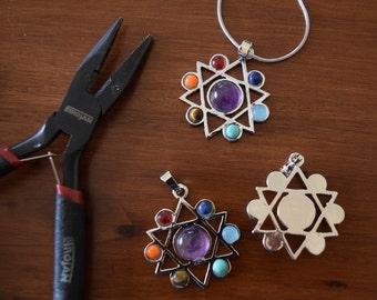 Star of David, Jewish star pendant, chakra crystal necklace,  crystals and stones, 7 chakras,  Australian seller.