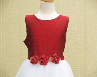 RED White Dress Size 6 12, red bodice tulle skirt with petals inside, Raw silk look,