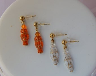 Czech Glass Owl Earrings; small post dangles crystals; gift for owl collector -Autumn accessory Halloween jewelry -studs for toddler to nana