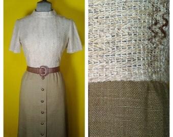 Vintage '60s brown Tweed Dress, Size Medium