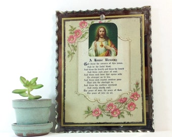 Vintage Framed House Blessing/Framed prayer/Colorful 1940's framed Religious art/Scalloped mirror framed Christian prayer/Jesus