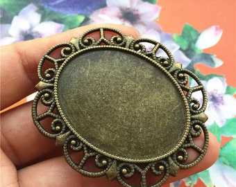 Wholesale 20pcs  57x47mm Antiqued Bronze flower oval cabochon base/cameo(40x30mm) blanks
