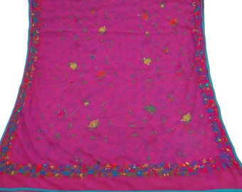 Vintage Dupatta Long Indian Traditional Clothing Antique Floral Art Craft Scarf Phulkari Embroidered Fabric Veil Magenta Stole DP25137