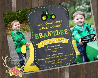 Tractor Farming Country Birthday Boy Invitation Picture