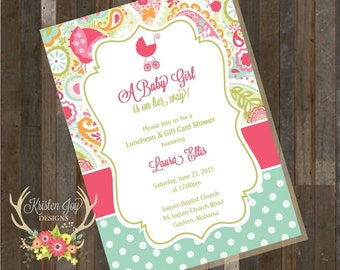 Baby Girl Shower Invitation Carriage Pink Green