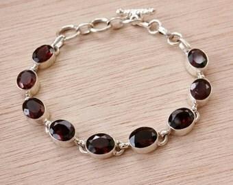 Sterling Silver Garnet Gemstone Bracelet