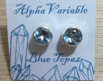 Sterling Silver Blue Topaz Stud Earrings - December Birthstone