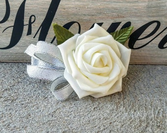 Silver Wedding corsage, wedding corsage, ivory wedding corsage, affordable wedding corsage, silver wedding corsage, ivory rose wedding