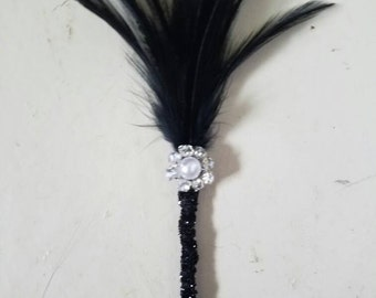 Great Gatsby Boutonniere, 50s Boutonniere with bling, Feather Boutonniere, Glamorous boutonniere, Hollywood boutonniere, Wedding boutonniere