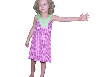 Summer girl's dress, A shape, trapeze dress, checkered red and white with small flowers,  light green collar