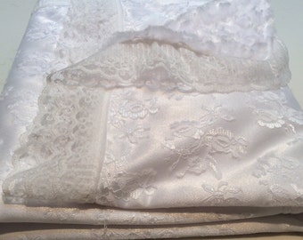 White bridal lace blanket
