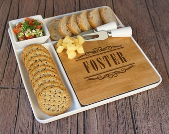 Monogrammed Cutting Board & Ceramic Serving Platter Set with Ceramic Tray, Bowl, and Cheese Tools