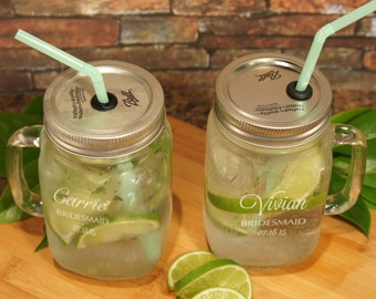 Personalized Mason Jars with Handle including Monogrammed Bridal Party Design Options, Elements, and Font & OPTIONAL Straw Lid (Each)