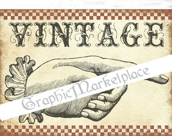 Hand Vintage Door Sign Download Iron on Transfer Burlap digital collage sheet graphic printable image  No. 1610