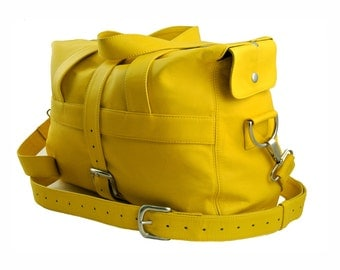 Handcrafted Yellow Leather Overnight Bag