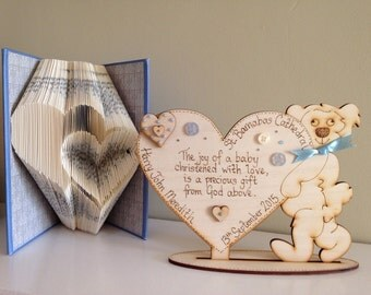 Personalised Christening Teddy Bear Holding a Heart