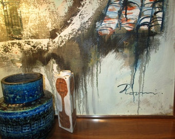Large Vintage Modern Art Expressionism Painting