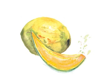 Kitchen Wall Art, Fruit Watercolor, Kitchen Print, Melon Watercolor Painting, Cantaloupe Botanical Watercolor, Kitchen Wall Decor