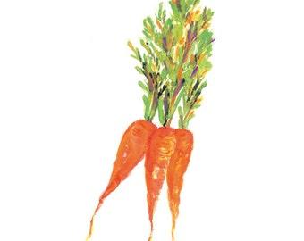 Carrots Watercolour Painting, Kitchen Art Print, Kitchen Wall Art, Vegetable Watercolor Painting, Kitchen Wall Decor, Kitchen Decoration