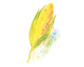 Corn Art, Watercolor Print, Kitchen Wall Art, Kitchen Art Print, Vegetable Watercolor Painting, Kitchen Wall Decor, Wall Art Kitchen