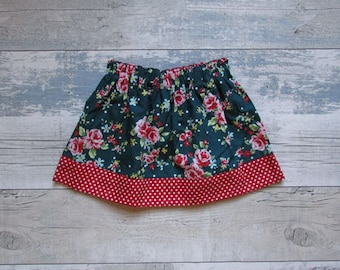 Girls floral teal skirt