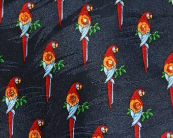 Parrot rhinestone necktie