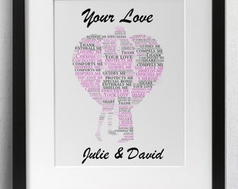 Personalised Love Framed Word Art - Your Love