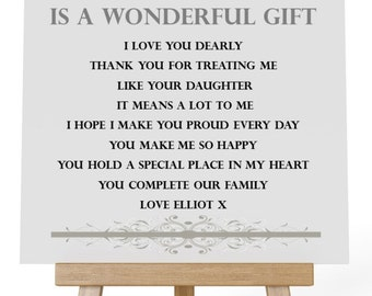 Personalised Square Wooden  Plaque.Stepdad Poem Gift. Complete with Stand