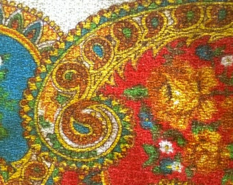 ORIGINAL Vintage RETRO table cloth 1970s paisley Indian square 135 x 122cm