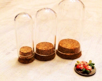 3 Mini Dome Bottles With Cork Stoppers