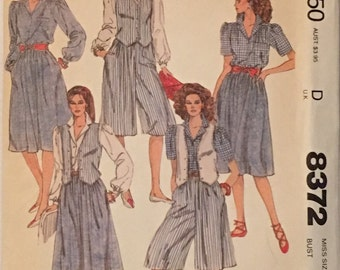 Vintage McCalls Pattern 8372 Misses Vest, Blouse, Skirt and Culottes  UNCUT Size: 10