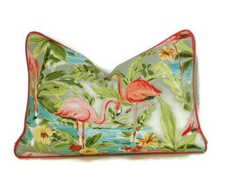 Flamingo Outdoor Lumbar Pillow Cover-Tropical Print Pillow Cover-Hot Pink,Turquoise,Yellow,Green Outdoor Pillow