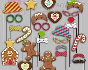 Christmas Gingerbread Party Photo Booth Props, Gingerbread, Candy Cane Party Photo Props