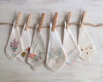 6 Old Fashioned White With Embroidery Handkerchiefs