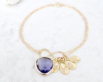 Amethyst Jewelry Initial Bracelet Personalized Infinity Bracelet Charm Bracelet 14k gold filled Bracelet Infinity Jewelry Leaf Jewelry Gift