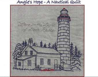Lighthouse Hand Embroidery Pattern - Angie's Hope A Nautical Quilt - by Beth Ritter - Instant Digital Download
