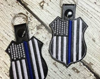 Vertical US Flag Badge - Thin Blue Line - Police - Snap Tab - Fob -  Digital Embroidery Design