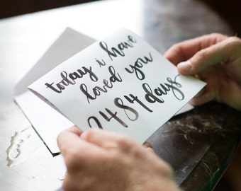 Today i have loved you for - days : love note, wedding note for groom for bride, anniversary note, for him, for her