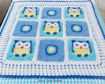 CROCHET BABY BLANKET Pattern  - Kerry's Owl Blanket - Crochet Owl Blanket Pattern, Owl Blanket Crochet Pattern Crocheted Owl Blanket Pattern