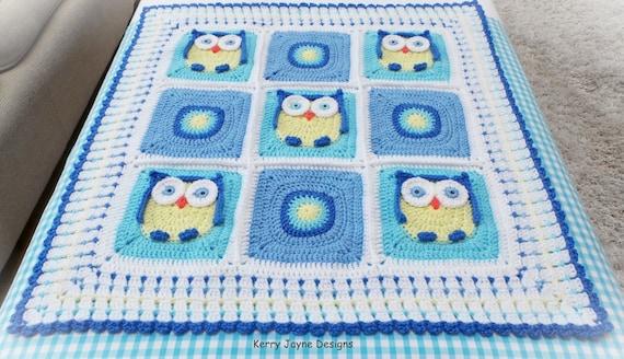 Crochet Baby Blanket Pattern Kerrys Owl Blanket