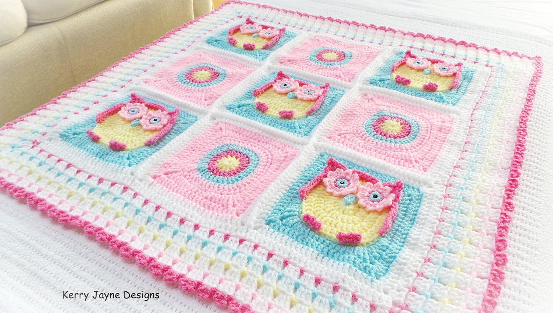 Crochet Baby Blanket Pattern  Crochet Pattern  Owl Blanket  Baby Owl  Blanket Pattern Crochet