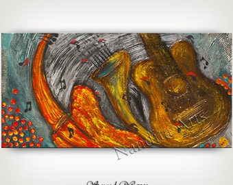 GUITAR Art for Sale - Guitar painting ORIGINAL abstract Music art for sale TEXTURE Art for sale modern guitar art for sale Nandita