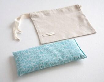 Organic Eye pillow - Organic lavender and flax seeds eye pillow - Light Blue Geometric Organic - Aromatherapy  - Yoga Relaxation - Gift idea