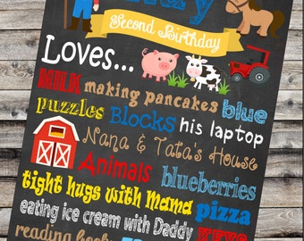 Barnyard Birthday Chalkboard - Barnyard Birthday - Barnyard Birthday Decorations - Barnyard Party - Farm Animal Birthday