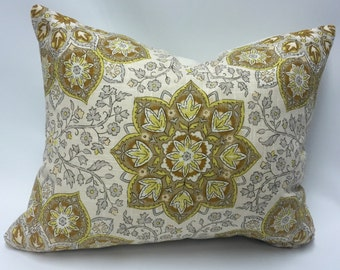 Medallion Rectangular Pillow Cover in Gold from Jaclyn Smith Home Collection with Trend Fabrics